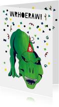 Verjaardagskaart stoer dinosaurus leeftijd