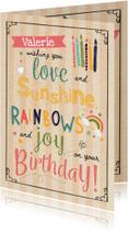 Verjaardagskaarten - Verjaardagskaart Sunshine & Rainbows