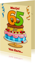 Verjaardagskaarten - Verjaardagskaart taart met losse cijfers - HE