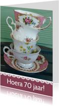 Verjaardagskaarten - Verjaardagskaart vintage servies 70 jaar