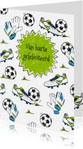 Verjaardagskaarten - Verjaardagskaart voetbal gras