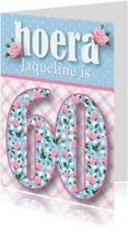 Verjaardagskaarten - Verjaardagskaart vrouw 60 rozen lief