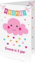 Verjaardagskaarten - Verjaardagskaart wolkje roze LB