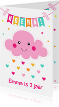Verjaardagskaarten - Verjaardagskaart wolkje roze slinger