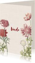 Geboortekaartjes - Vintage geboortekaartje voor een meisje met anemonen