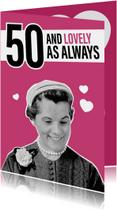 Verjaardagskaarten - Vintage vrouw 50