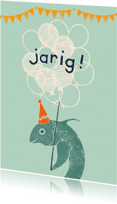 Verjaardagskaarten - Vis is jarig Mintgroen