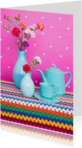 Bloemenkaarten - Vrolijk stilleven met anjers