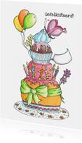 Verjaardagskaarten - Vrolijke taart kaart