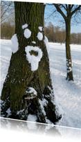 Wenskaarten divers - Wenskaart Sneeuwpret boom