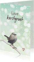 Kerstkaarten - Winterkoninkje op tak