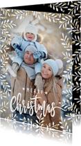 Kerstkaarten - Winterse kerstkaart dennentakken sterren