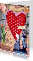 Vriendschap kaarten - With love mixed media