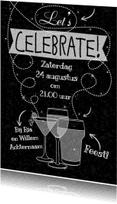 Uitnodigingen - Witte teksten Celebrate krijt