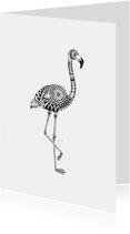 Woonkaarten - Woonkaart Flamingo hangetekend