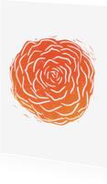 Woonkaarten - Woonkaart lino afdruk roos
