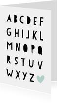 Woonkaarten - Woonkaart met alfabet letters in een hip fontje