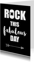 """Woonkaart quote """"Rock this fabulous day"""""""