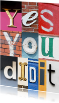 Coachingskaarten - Yes you did it - letters