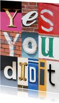Coachingskaarten - Yes you did it - letters