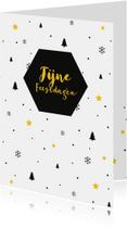 Zakelijke kerstkaarten - Zakelijk kerstkaart grafisch okergeel met zwart