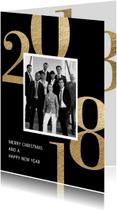 Zakelijke kerstkaarten - Zakelijke kerstkaart 2018 met foto zwart
