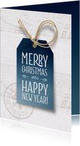Zakelijke kerstkaarten - Zakelijke kerstkaart blauw label