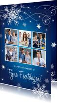 Zakelijke kerstkaarten - Zakelijke kerstkaart fotocollage blauw