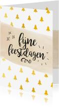 Zakelijke kerstkaarten - Zakelijke kerstkaart kerstbomen goud