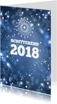 Nieuwjaarskaarten - Zakelijke kerstkaart met blauwe achtergrond