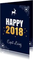 Nieuwjaarskaarten - Zakelijke nieuwjaarskaart donkerblauw sneeuwvlokken goud