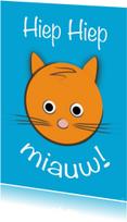 Verjaardagskaarten - zoe-t poes hiep hiep miauw