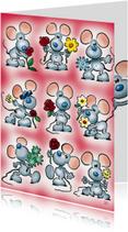Zomaar kaarten - zomaar 1 muisjes met bloemen