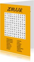 Zomaar kaarten - Zomaar een kaartje met een puzzel woordzoeker