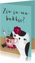 Vriendschap kaarten - Zomaar - Kat drink een kopje thee of koffie