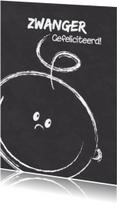 Felicitatiekaarten - Zwanger blij baby gezicht krijtS