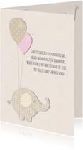 Felicitatiekaarten - Zwanger olifantje ballonnen