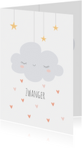 Felicitatiekaarten - Zwanger | Wolkje & hartjes - KO