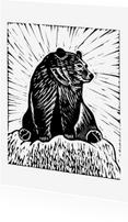 Woonkaarten - Zwart-wit woonkaart beer