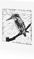 Woonkaarten - Zwart-wit woonkaart ijsvogel