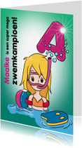Geslaagd kaarten - Zwemkampioen A meisje