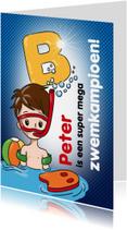 Geslaagd kaarten - zwemkampioen B jongen