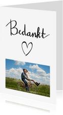 Bedankkaart vriend(in) met handlettering tekst en eigen foto