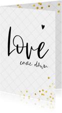 Christelijke kerstkaart met trendy lettertype Love