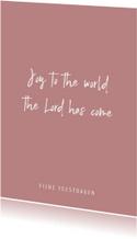 Christelijke quote kerstkaart met oudroze achtergrond