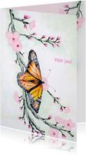 Dierenkaarten - Vlinder met bloesem
