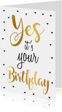 Felicitatie verjaardagskaart goud Yes