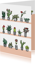 Fleurige kaart cactussen en bloemen