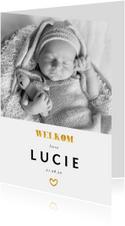 Geboortekaartje met foto en gouden accenten staand