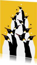 Hippe pinguin kerstkaart